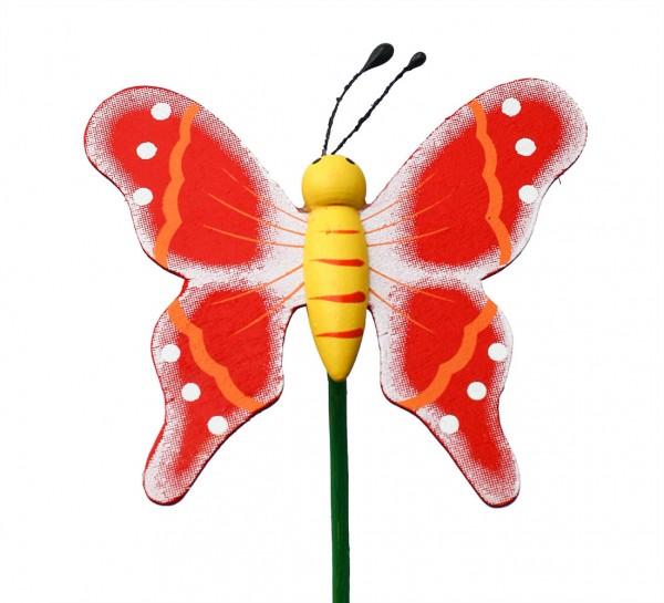 Beistecker Schmetterling auf Stock 7/50cm rot 25 Stück