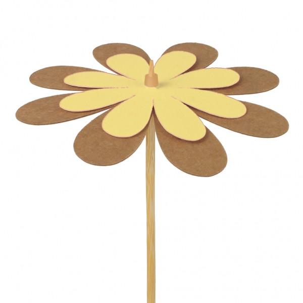 Beistecker Blume Kraftpapier gelb 8cm (25 Stück)