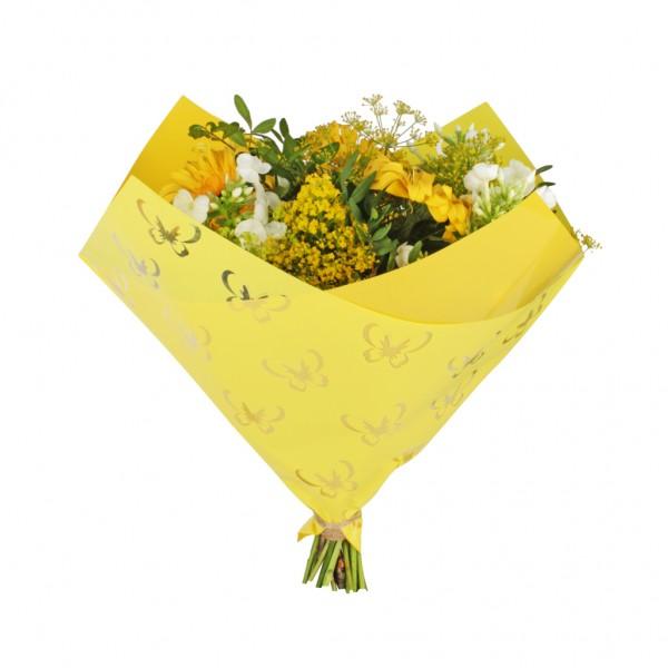Tüten 35/35 Oblique Clear Butterfly gelb OPP50 (25 Stück)
