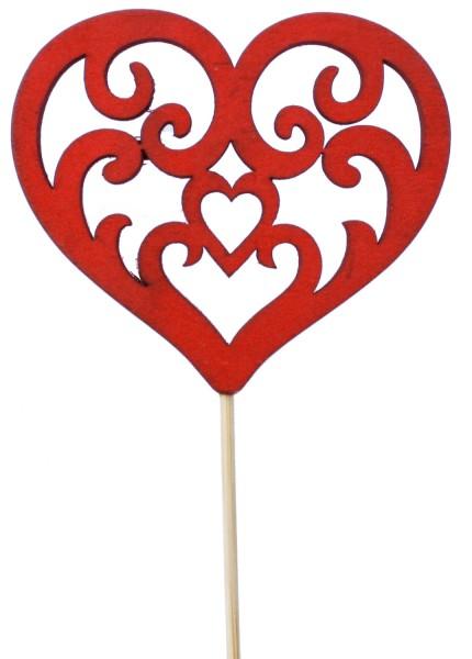 Beistecker Herz Holz 8x7cm rot (16 Stück)