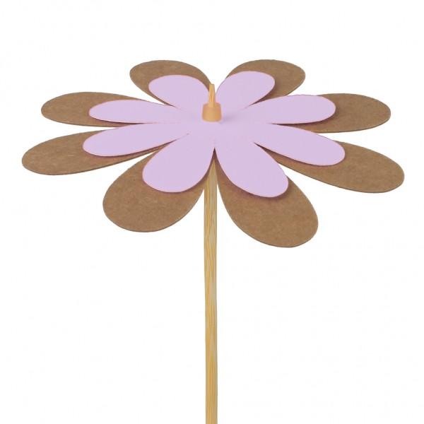 Beistecker Blume Kraftpapier lila 8cm (25 Stück)