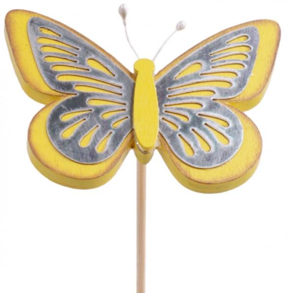 Beistecker Schmetterling Tess gelb 9cm (25 Stück)