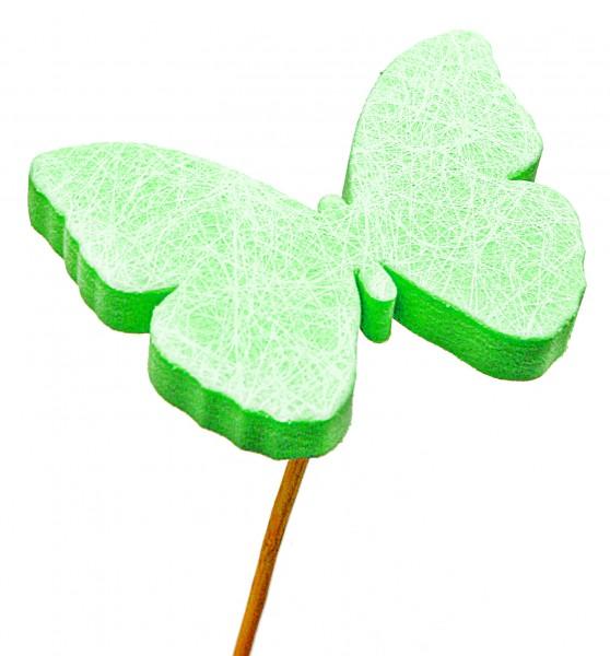 Beistecker Schmetterling Schaum grün 7cm (25 Stück)