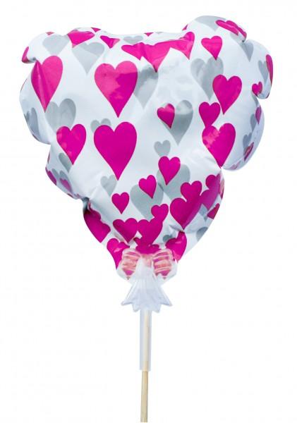 Beistecker Herzballon rosa (10 Stück)