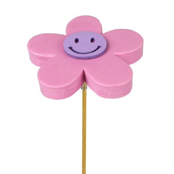 Beistecker Blume Happy 7cm pink (25 Stück)