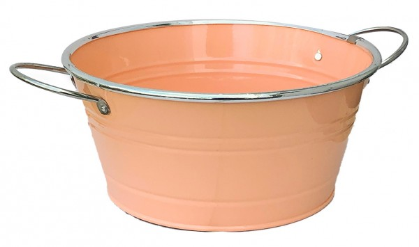 Zinkschale mit Henkel d:16cm h:9,5cm apricot