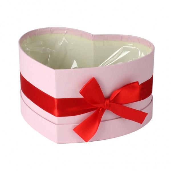 Hutschachtel foliert Herzform rosa mit roter Schleife 15x19x10cm