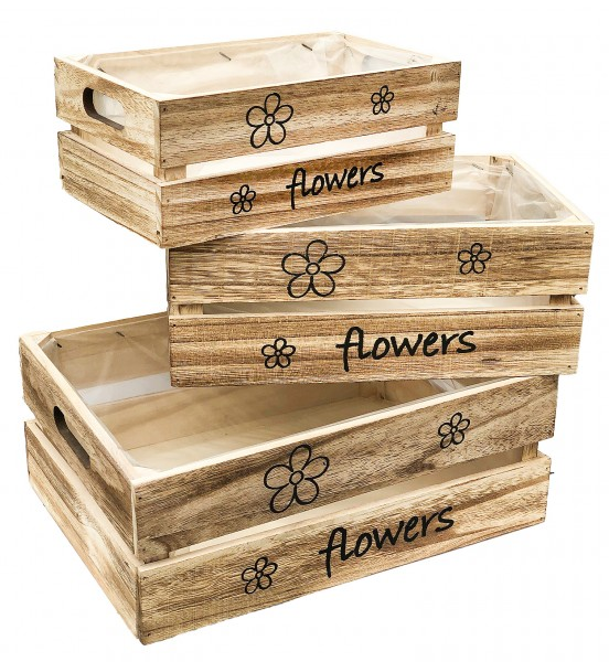 Kisten Holz Flowers 3-Grössen-Mix braun washed