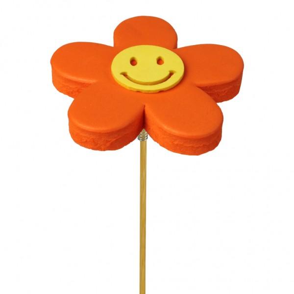 Beistecker Blume Happy 7cm orange (25 Stück)