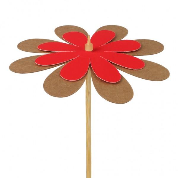 Beistecker Blume Kraftpapier rot 8cm (25 Stück)