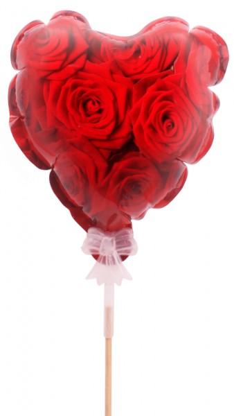 Beistecker Herzballon Rose (10 Stück)