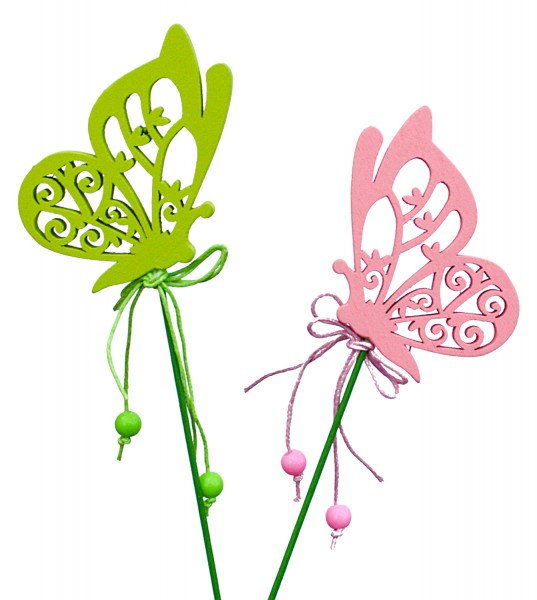 Beistecker Schmetterlinge 8cm pink/grün(12 Stück)