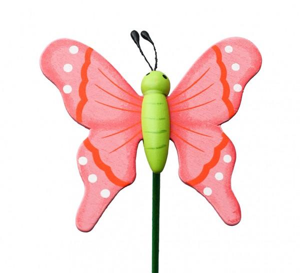 Beistecker Schmetterling auf Stock 7/50cm rosa 25 Stück
