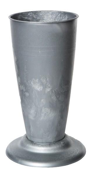 Floristenvase V-Form mit Fuß 35cm Zinklook