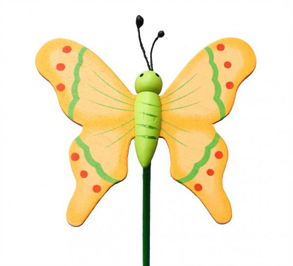 Beistecker Schmetterling auf Stock gelb (24 Stück)