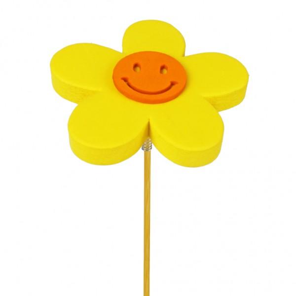 Beistecker Blume Happy 7cm gelb (25 Stück)