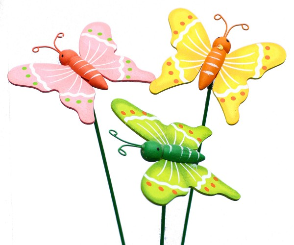 Beistecker Schmetterlinge 6x7cm bunt (24 Stück)