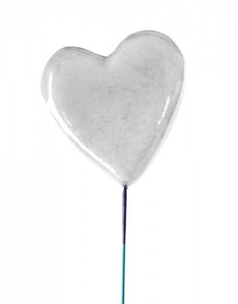 Beistecker 25cm Herz 6,5x6,5 weiss (24 Stück)