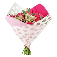 Blumentüten 35/35 Oblique Clear Hearts rosa (25 Stück)