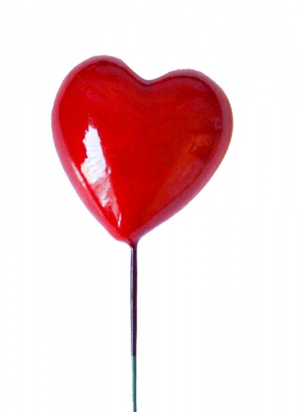 Beistecker 25cm Herz 4x4 rot (24 Stück)