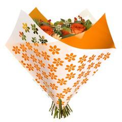 Tüten 35/35 Oblique Clear Flowers orange OPP50 (25 Stück)