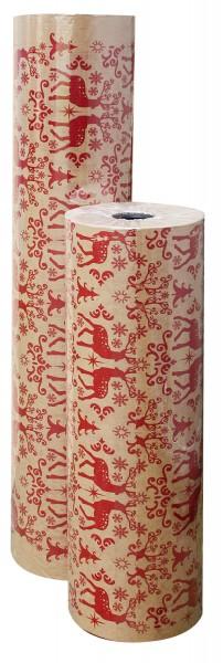 """Weihnachtspapier 75cm 35g """"Nordic Christmas"""" kraft braun-rot 10kg"""