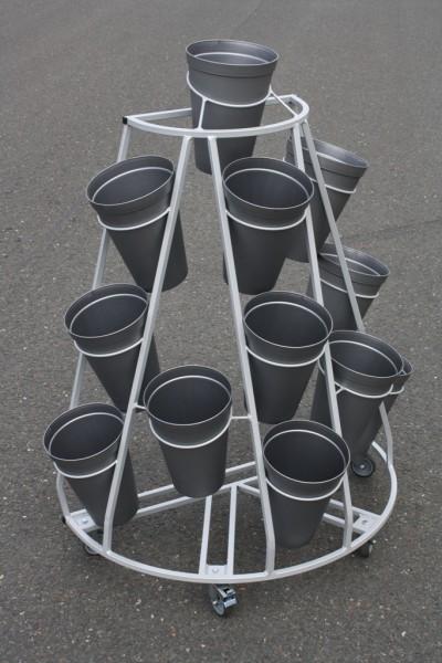Blumenwagen 12 Vasen V-Form g/g