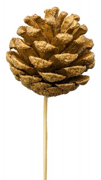 Beistecker Zapfen 6cm gold auf Stock 50cm (25 Stück)