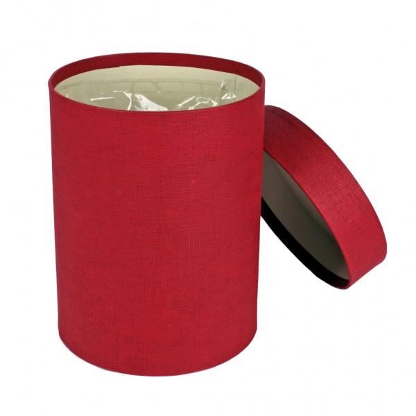 """Hutschachtel foliert rot """"fabric"""" Leinenstruktur 13x17cm"""