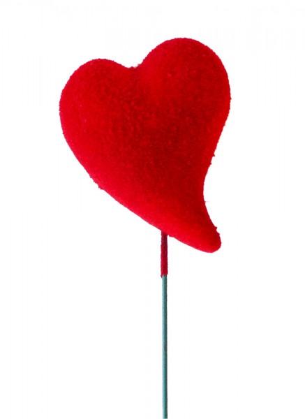 Beistecker 25cm Herz Flock 5,5x4 rot (24 Stück)