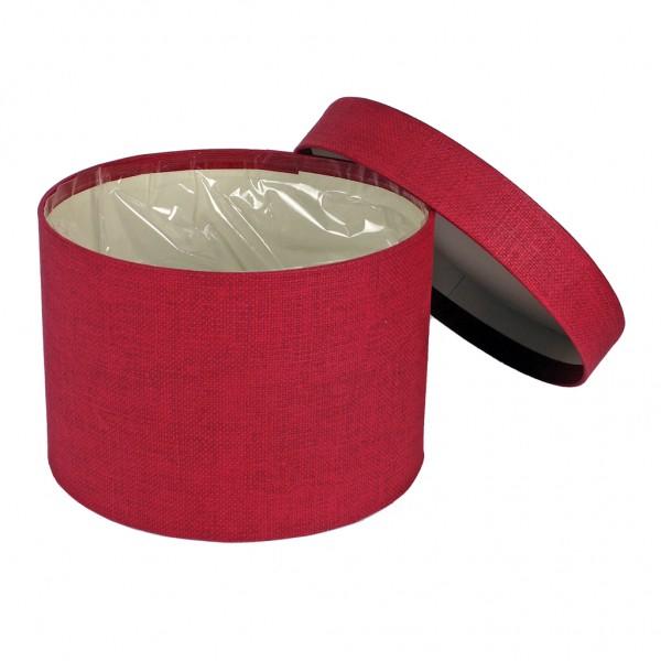 """Hutschachtel foliert rot """"fabric"""" Leinenstruktur 14x10cm"""