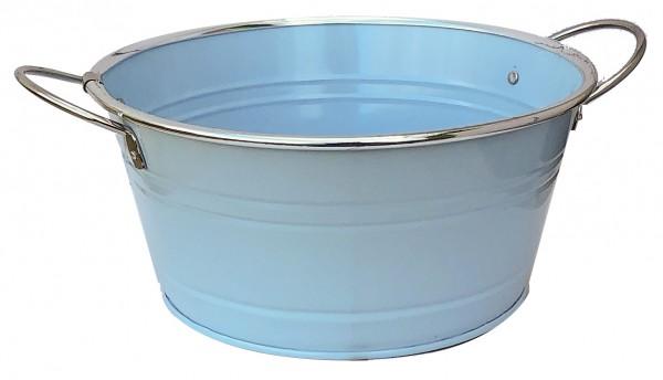 Zinkschale mit Henkel d:16cm h:9,5cm blau