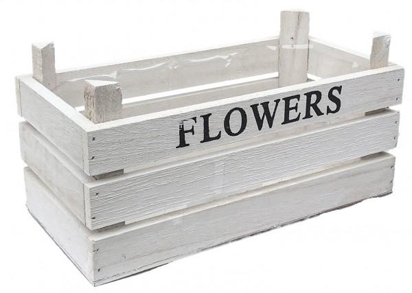 Kiste Holz rechteckig mit Folie h:11 l:23b:11 weiss