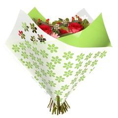 Tüten 35/35 Oblique Clear Flowers grün OPP50 (25 Stück)