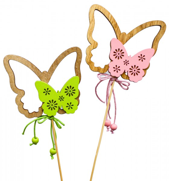 Beistecker Schmetterling Holz 8,5cm grün/rosa (8 Stück)
