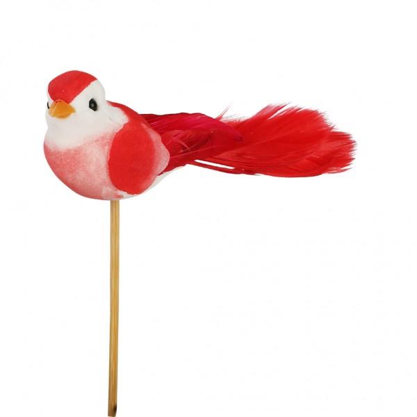 Beistecker Vogel Pájaro 11x4cm rot (25 Stück)