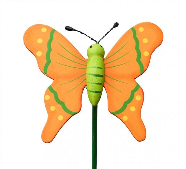 Beistecker Schmetterling auf Stock 7/50cm orange 25 Stück