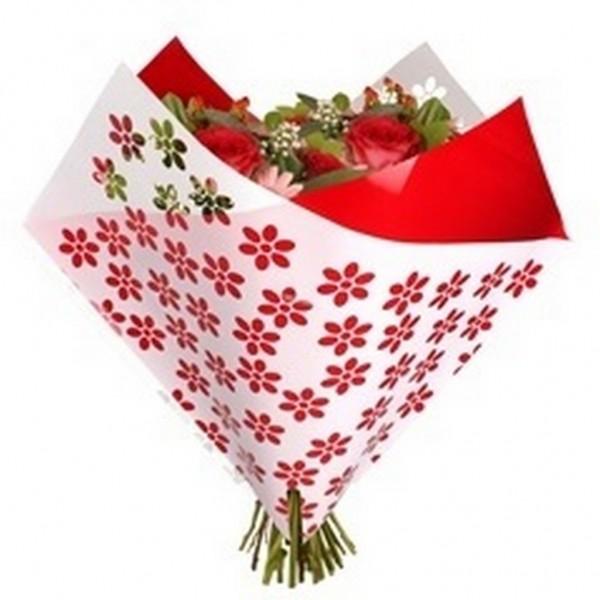 Tüten 35/35 Oblique Clear Flowers rot OPP50 (25 Stück)