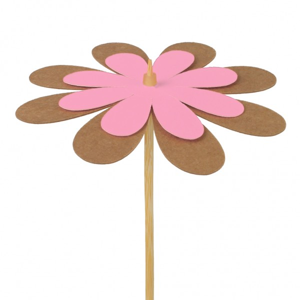 Beistecker Blume Kraftpapier pink 8cm (25 Stück)