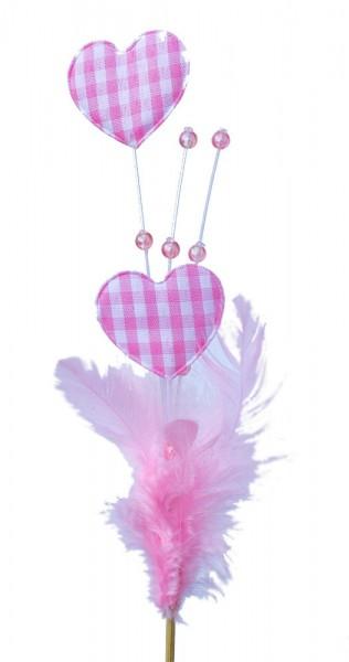 Beistecker Herz mit Feder und Perle rosa (25 Stück)