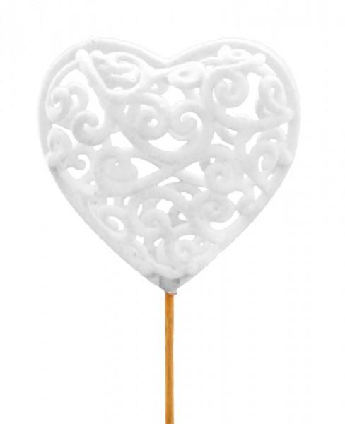 Beistecker Herz Antik weiss (25 Stück)