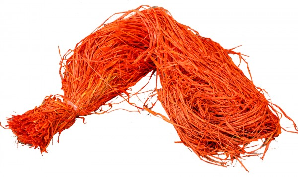 Raphia Bast gefärbt orange