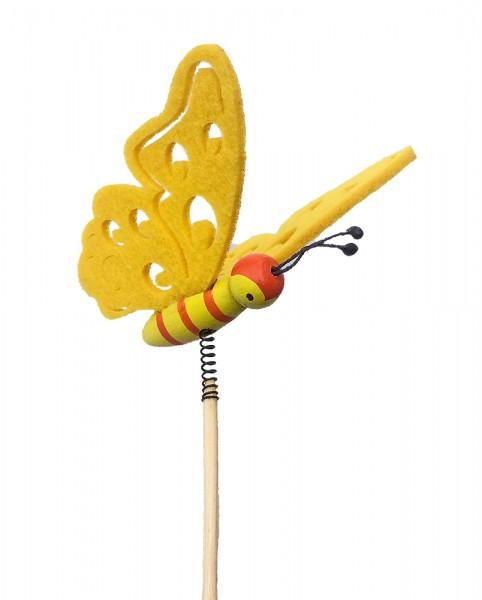Beistecker Schmetterling Filz gelb (10 Stück)