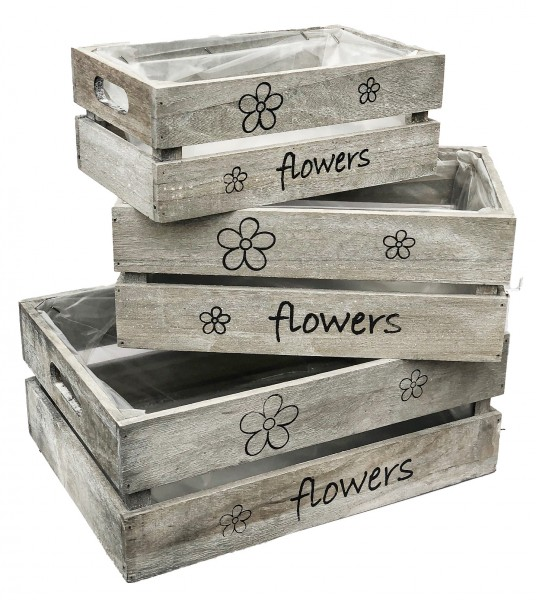 Kisten Holz Flowers 3-Grössen-Mix grey washed