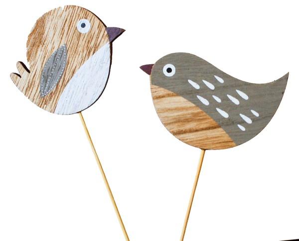 Beistecker Vögel 8x5cm braun-hellbraun (16 Stück)