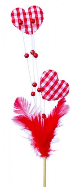 Beistecker Herz mit Feder und Perle rot (25 Stück)