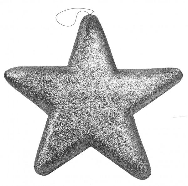 Aufhänger Glitterstern 25x25cm silber 25x25cm