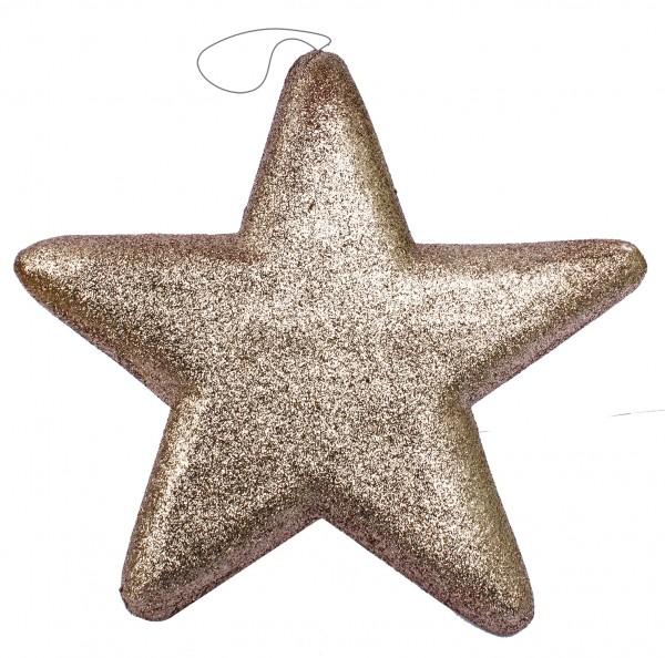 Aufhänger Glitterstern 25x25cm champagner 25x25cm