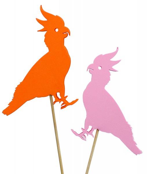 Beistecker Kakadu 50cm 15cm pink/orange (4 Stück)