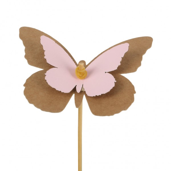 Beistecker Schmetterling Kraftpapier 7x9cm rosa (25 Stück)